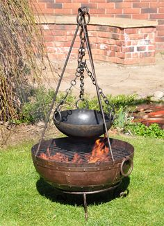Recycled Kadai Fire Bowl Complete Cooking Set - The Recycled Kadai Fire Bowls are a real show stopper for any event. Great for entertaing in the garden they can be used as a barbeque to feed guests and then as the sun goes down they make a real social spot for friends to gather round for warmth.
