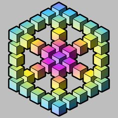 Computer gradient filled images of impossible figures, which are consist of cubes, by Illusion Drawings, Illusion Art, Small Drawings, 3d Drawings, Cubes, 3d Art Drawing, Drawing Ideas, Impossible Shapes, Isometric Drawing