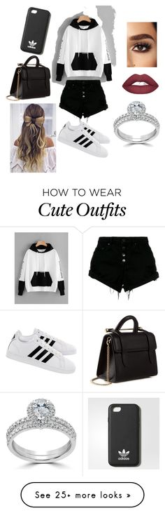 """Black and White outfit ❤❤"" by purplehamartin on Polyvore featuring Nobody Denim, adidas, Strathberry and Bliss Diamond"
