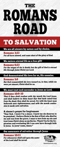 Teen Missions International – Romans Road To Salvation Roman Road To Salvation, Salvation Prayer, Abc Of Salvation, Salvation Quotes, Christian Life, Christian Quotes, Christian Peter, Bible Scriptures, Bible Quotes
