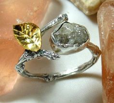 Rough Diamond ring, Twig Engagement Ring, Statement Ring, Gemstone Ring, Silver, yellow gold and raw diamind Ring