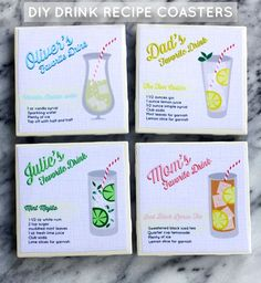 Treat dad to his favorite refreshment and customized coasters. Make DIY personalized drink recipe coasters using no more than a swatch of fabric, bath tile, and some mod podge!