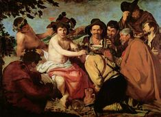 Diego Velázquez (Spanish 1559–1660) [Baroque, Portrait] El Triunfo de Baco Los Borrachos (The Triumph of Bacchus The Drunken), 1628-1629. Prado Museum, Madrid.