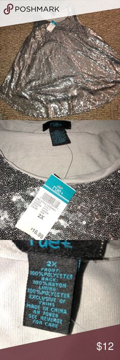 NWT Rue+ Sequined Silver Tank Top NWT sequined silver tank top. Size 2X. A Rue 21 Tops Tank Tops
