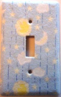 Flannel Light Switch Cover Stars Moon Baby Blue Boys Girls Bedroom Nursery Decor