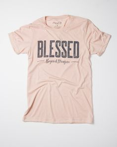 """This is a super-soft tri-blend t-shirt with our """"Blessed Beyond Measure"""" design. This item is Unisex and runs True to Size. *Tri-Peach with vintage charcoal de"""