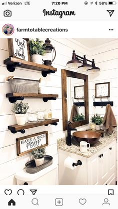 Using the galvanized piping for the shelves help to pop the wood and the white shiplap... plus it will match the drop shelves in the kitchen. And the curtain rods!