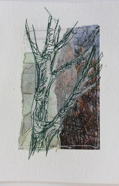 Cas Holmes - Mote Park Tree 6 on Collage and watercolour paper) Thread Art, Thread Painting, Textile Fiber Art, Textile Artists, Collage Drawing, Collage Art, Cas Holmes, Textiles, Stitching On Paper