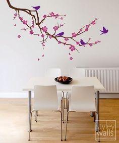 Aves y rama de cerezo etiqueta Cherry rama Wall por styleywalls