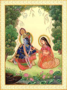 Krishna Radha Spiritual Art Handmade Contemporary Hindu Miniature Decor Painting