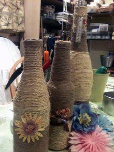 jute covered and embellished bottles
