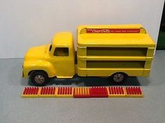 VINTAGE BUDDY L COCA-COLA YELLOW FLAT TOP PRESSED STEEL DELIVERY TRUCK