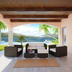 Malibu 5 Piece Outdoor Patio Sofa Set in Espresso White