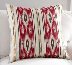 "Holiday Ikat Stripe Pillow Cover | Pottery Barn / 24"" square / Sale $22.99"