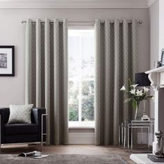 Curtina Islington Geometric Lined Eyelet Curtains - Silver Ready Made Eyelet Curtains, Silver Curtains, Neutral Curtains, Curtains Living, Cafe Curtains, Hanging Curtains, Made To Measure Blinds, Window Types
