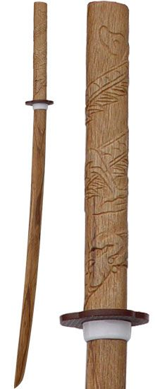"""Japanese style Natural Wood Bokken with Carved Dragon Handle. 40"""" overall"""