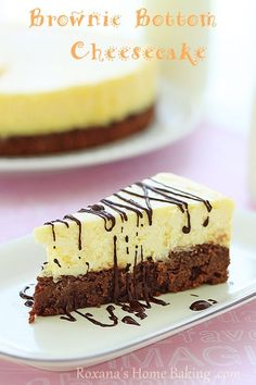 Brownie Bottom Cheesecake - a creamy cheesecake baked on top of a rich, chocolate-y, fudgy brownie
