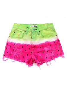 Remade Vintage Watermelon Pink Green Levis Denim Ripped Frayed Shorts. tooooo ccuutteeee