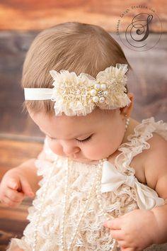ivory bow headband....baby headbands.....