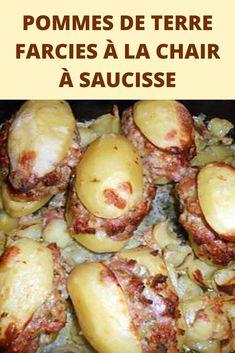 Si vous avez envi d'une recette gourmande pour les froides soirées d'hiver, voici cette pomme de terre farcie à la chair à saucisse. Autre façon de manger des pommes de terre… Il n'y a pas que la tartiflette ou la pela… Délicieux et roboratif…  Rien de bien compliqué pour cette préparation qui pourra régaler toute la famille. Composée ainsi de pommes de terre, de chair a saucisse, de tomate, de pain de mie et de d ail cette recette sera parfaite pour accompagner viande et poisson pour vos… Kitchen Recipes, Baked Potato, Yummy Treats, Bbq, Tasty, Meat, Chicken, Vegetables, Cooking