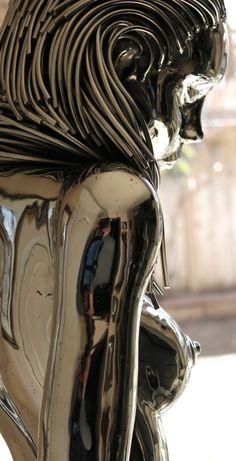 Eve 5 Life size steel sculpture - Hobbies paining body for kids and adult Bizarre Kunst, Bizarre Art, Cyberpunk Kunst, Cyberpunk Girl, Arte Peculiar, Brust Tattoo, Android Art, Sculpture Metal, Robot Art