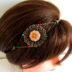 Headband ethnique bronze, rouge, vert et turquoise, bijou de tête mariage, cabochon coton : Accessoires coiffure par color-life-bijoux