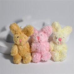 5Pcs/Set Cute Soft Mini Joint Rabbit Pendant Plush Bunny For Key Chain Bouquet Toy Doll DIY Ornaments Gifts Random Color