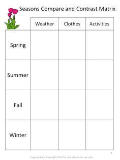Comparison Matrix Seasons