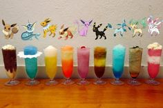 Evee Evolution Drinks: (Full list on website)  Jolteon: tequila, red bull, margarita mix, lemon juice, Sprite, salt on the rim Flareon: fireball whiskey, peach schnapps, iced tea, lemonade, dash of strawberry syrup (for color)