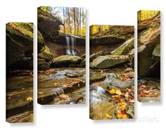 Blue Hen Falls 3, 4 Piece Gallery-Wrapped Canvas Staggered Set Print by Cody York at AllPosters.com