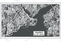 #Istanbul #Turkey #Map in #Retro #Style. by Igor Sorokin on @creativemarket