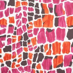 Artistically make your way into the fashion scene by getting a hold of this audacious abstract print! Splotches of pink, orange and brown look as if they were randomly painted over a white back drop atop this stunning cotton sateen. Due to the addition of elastane, this material contains a nice amount of give in the weft of the fabric, great for form-fitting applications.