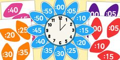 Analogue to Digital Clock Label Flower - clock, flower, petals School Displays, Classroom Displays, Classroom Ideas, Maths Display Ks2, Tell The Time Clock, Clock Labels, Classroom Clock, Teaching Clock, Math Wall