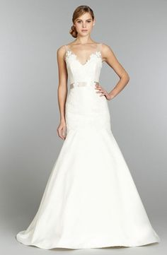 V-Neck A-Line Wedding Dress  with Natural Waist in Mikado. Bridal Gown Style Number:32784563 Tara Keely