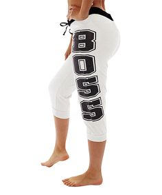 Love this Coco Limon White 'Boss' French Terry Capri Joggers by Coco Limon on #zulily! #zulilyfinds