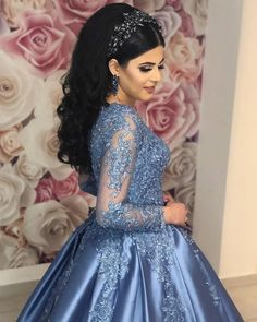 Code: 9012 hwd vintage muslim 2019 blue lace prom dresses with full sleeves puffy ball Xv Dresses, Ball Gown Dresses, Cheap Prom Dresses, Quinceanera Dresses, Blue Lace Prom Dress, Colored Wedding Dress, Blue Wedding Dresses, Wedding Dress Cinderella, Mermaid Dresses