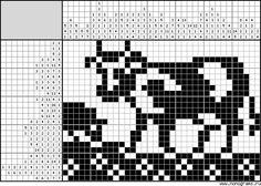 Intarsia Knitting, Knitting Charts, Knitting Patterns, Cross Stitch Cow, Cross Stitch Animals, Cross Stitch Patterns, Filet Crochet, Knitted Jackets Women, Animales