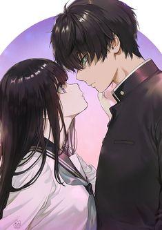 Hyouka- Eru x Hotaru Kawaii Anime, Anime Cupples, Pelo Anime, Anime Eyes, Otaku Anime, Anime Tumblr, Naruto Anime, Anime Couples Drawings, Anime Couples Manga