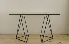ULTIMA PARADA, ANTIQUE GLASS & METAL TABLE : a rectangle on triangles triangles triangles.