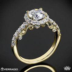 18K Yellow Gold Verragio INS-7003 Half Eternity Halo Diamond Engagement Ring