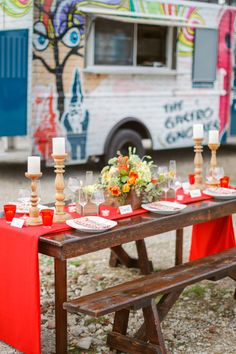 wooden bench table with red runner | Conrhod Zonio #wedding