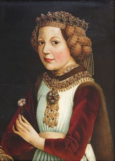 Madeleine of France, bethroted of Ladislaus the Posthumous - Kingdom of Navarre - Wikipedia Renaissance Portraits, Renaissance Paintings, Renaissance Art, Medieval Paintings, Historical Costume, Historical Clothing, Historical Women, Kingdom Of Navarre, Fashion History