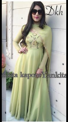 NEW COLLECTION IN GOWN HAS ARRIVED. YANKITA GREEN GOWN IN GEORGETTE SOLD BY CS VILLE CONT. FOR MORE AT 9891403364 Green Gown, Latest Fashion, Gowns, Clothes For Women, Formal Dresses, Outfits, Collection, Things To Sell, Design