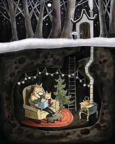 This is a print of the Fox Family cuddled up reading together in their cozy little den, complete with their Christmas Tree. Its made from an ink painting with color added digitally. Perfect for a nursery or kids room! Art And Illustration, Ink Painting, Tole Painting, Whimsical Art, Cute Art, Illustrators, Folk Art, Fantasy Art, Art Drawings