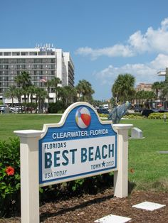 Clearwater Beach voted best beach town by USA today. Sign sits at the edge of Pier 60 Park where movies are shown on an outdoor screen on weekends. #pier60