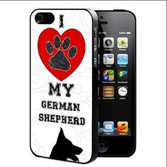 I Love My German Shepherd With Red Heart Black And White Background Hard Snap On cell Phone Case Cover (iPhone 5 5s). Full access to all ports & buttons. Molded to fit perfectly. Does not peel or crack or fade. Light weight.
