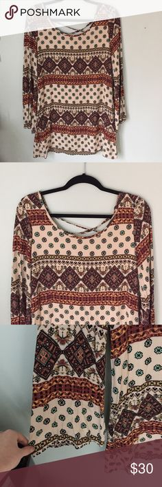 Bohemian Pattern Dress Boho Style. Neutral Colors. Bell, Long Sleeves. Loose Fitting. Tilly's Dresses Long Sleeve
