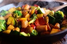 Veggie Stir-Fry | The Pioneer Woman( everyone loved. Would leave out the baby corn next time and use half the corn starch. I used onion bell pepper cabbage and corn. Adding jalapeños next time would be good)