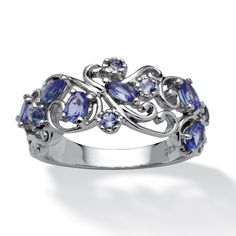 .83 TCW Oval-Cut Tanzanite Scroll Ring in Platinum Over Sterling Silver at PalmBeach