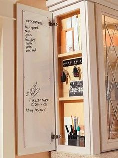 door at the end of a kitchen cabinet for small sto